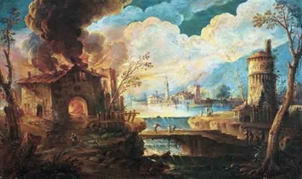 Roncelli Paesaggio con incendio