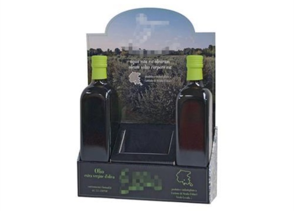 Espositore da banco con crowner per olio| Packaging - Espositori - Bag in Box